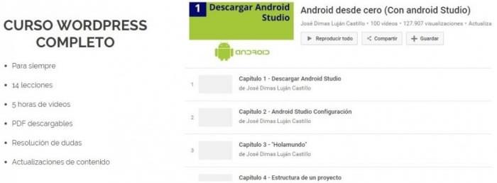 Dos cursos gratuitos, uno para programar apps Android y otro de WordPress